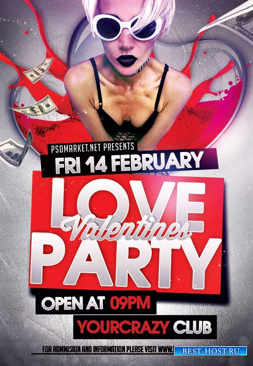 Love party valentines - Premium flyer psd template