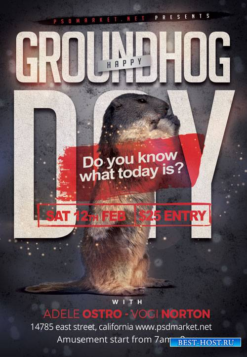 Groundhog day night - Premium flyer psd template