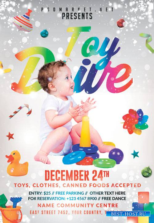 Toy drive night - Premium flyer psd template