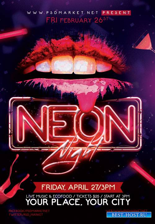 Neon night party - Premium flyer psd template