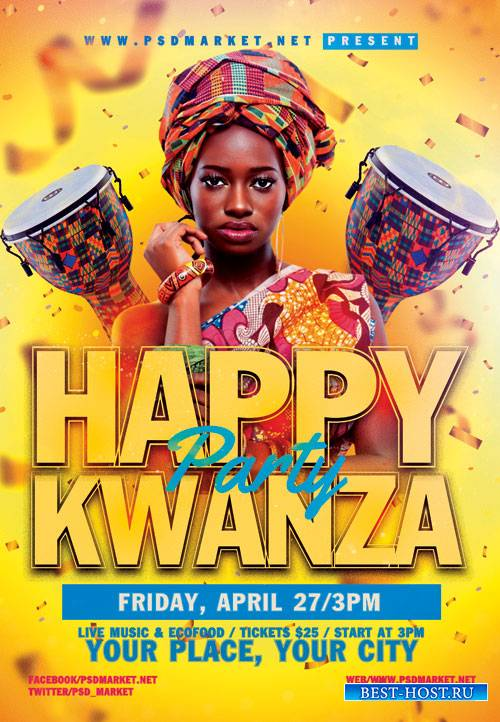 Happy kwanza - Premium flyer psd template