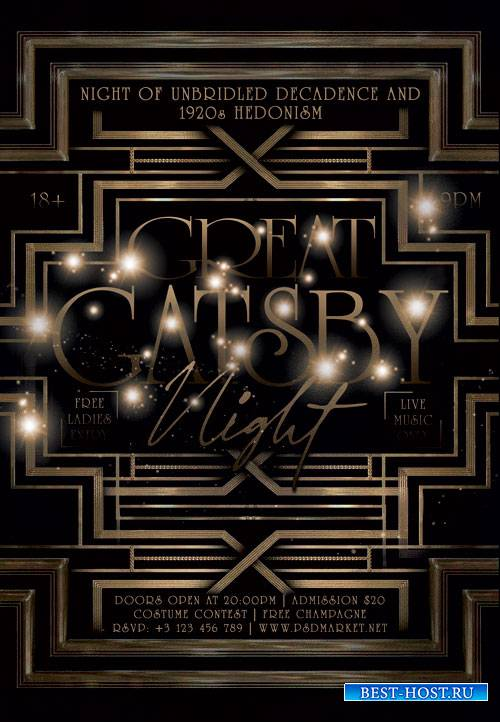 Great gatsby night - Premium flyer psd template