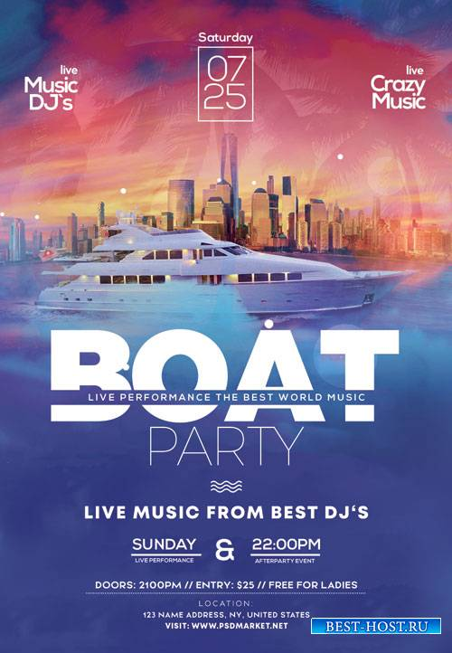 Boat club party - Premium flyer psd template