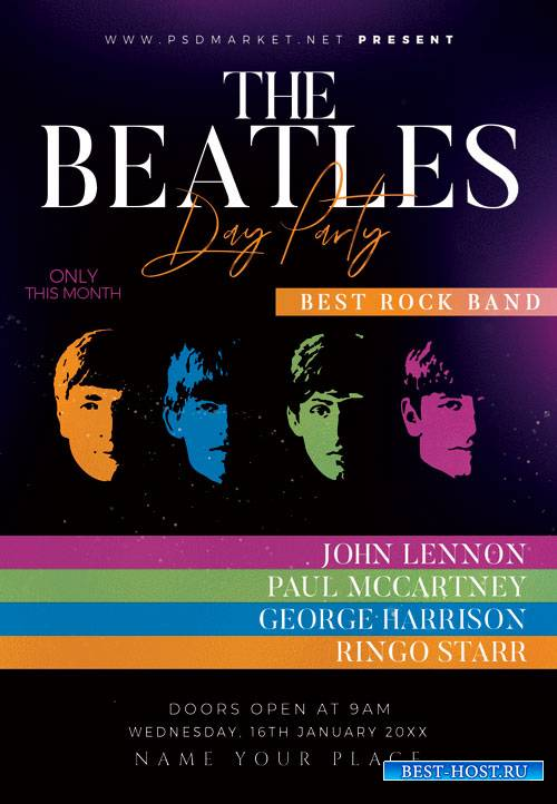 Beatles day party - Premium flyer psd template