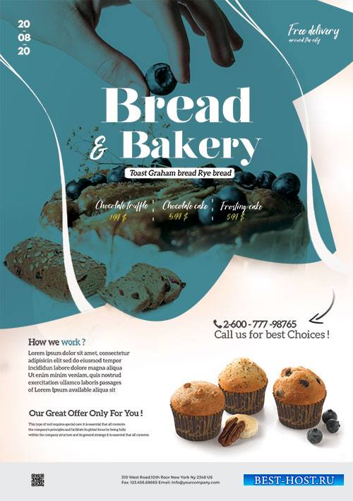Bakery and Cupcake - Premium flyer psd template