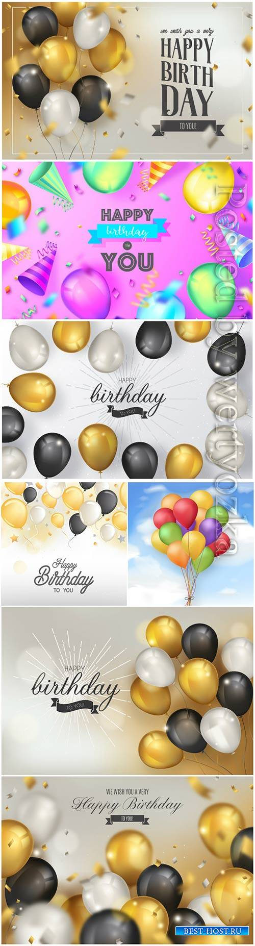 Elegant birthday vector background with realistic balloons