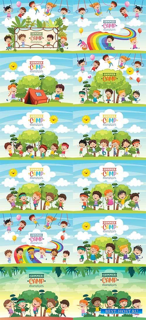 Дети и лето - Векторный клипарт