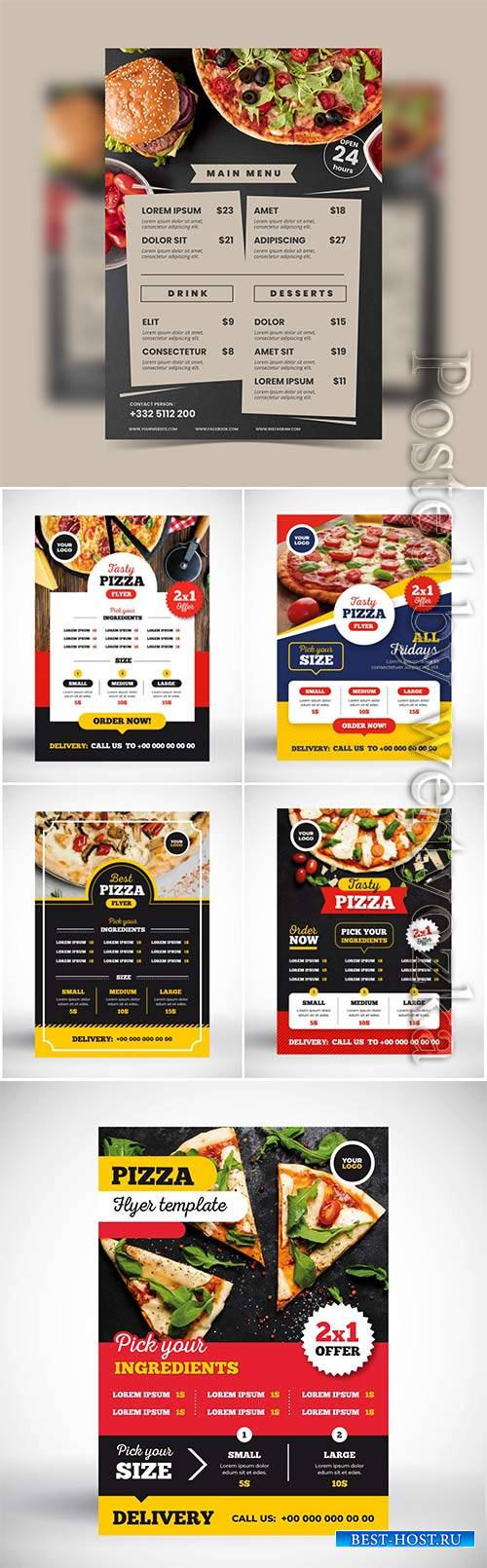 Pizza menu vector concept