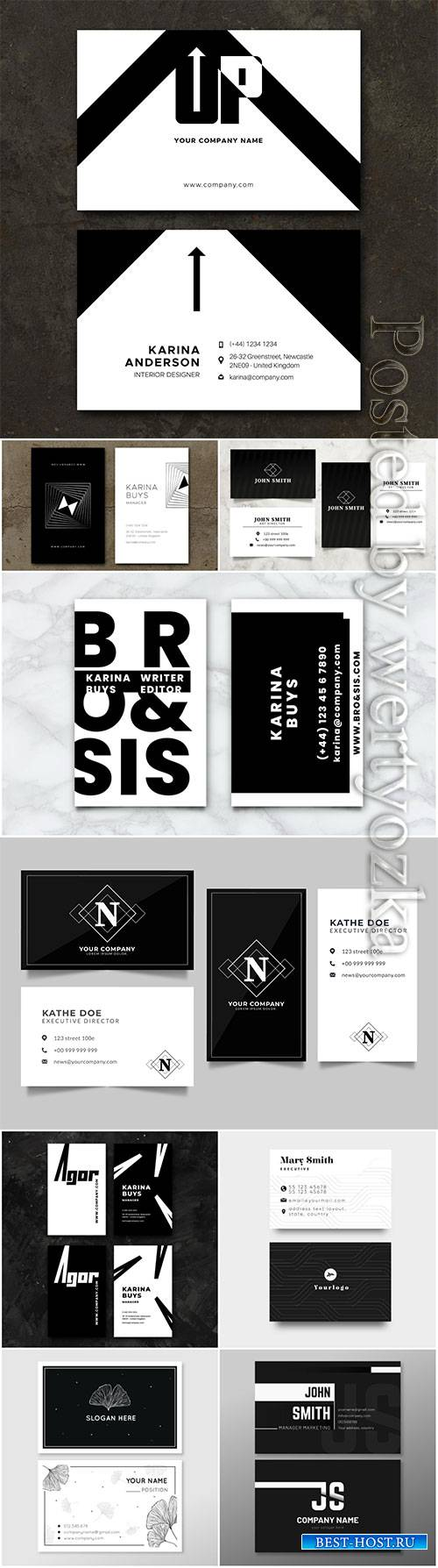 Monochrome business vector cards concept