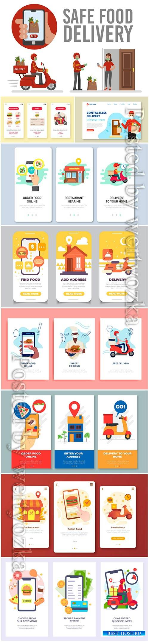 Food delivery app onboarding screens vector