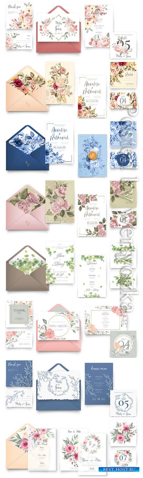 Elegant wedding stationery vector set
