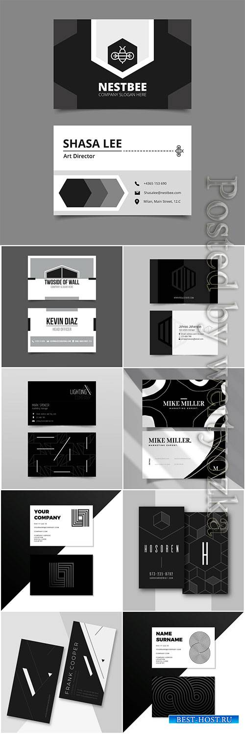 Monochrome business cards concept vector set