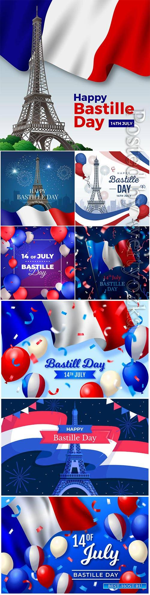 Realistic bastille day concept vector set
