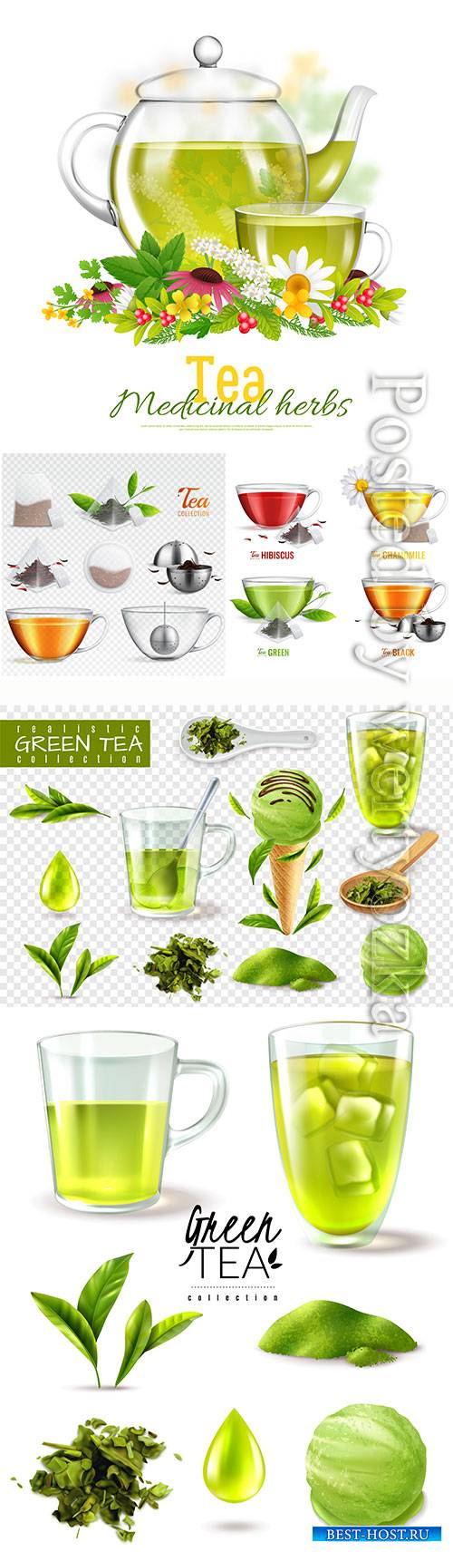 Fragrant tea in cups vector illustration