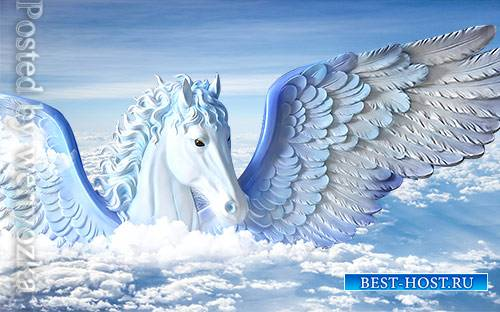 3D models template modern minimalist embossed flying horse blue background wall