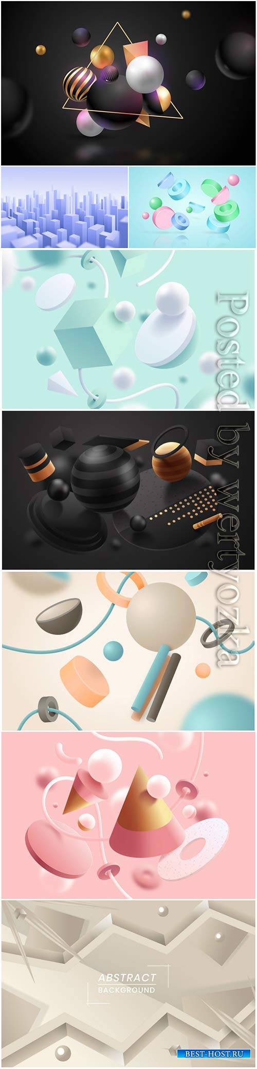 Abstract vector background, 3d models template # 5