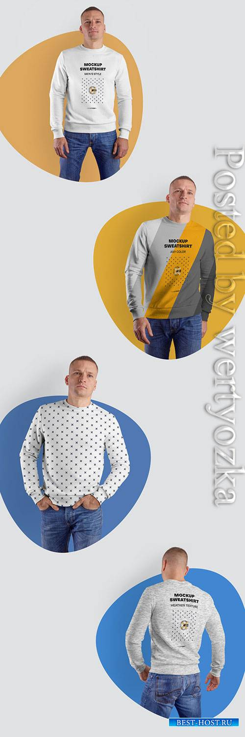 4 Men's Sweatshirts Mockups