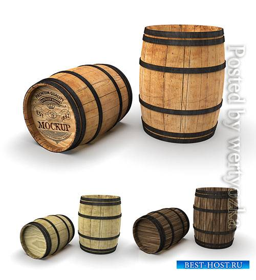 Wooden Barrel Mockup