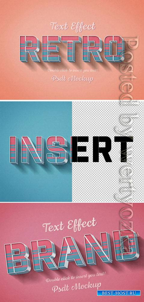Retro 3D Text Effect with Pink and Blue Stripes