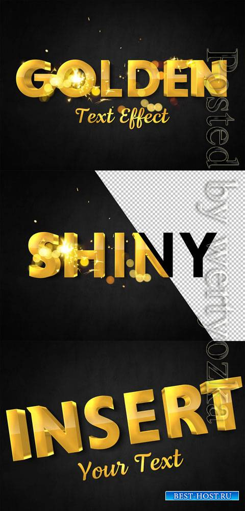 3D Gold Text Effect with Spark Elements