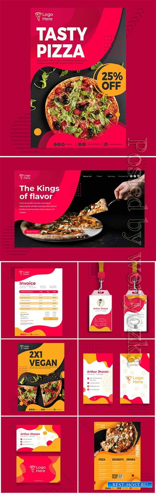 Menu vector template for pizza restaurant