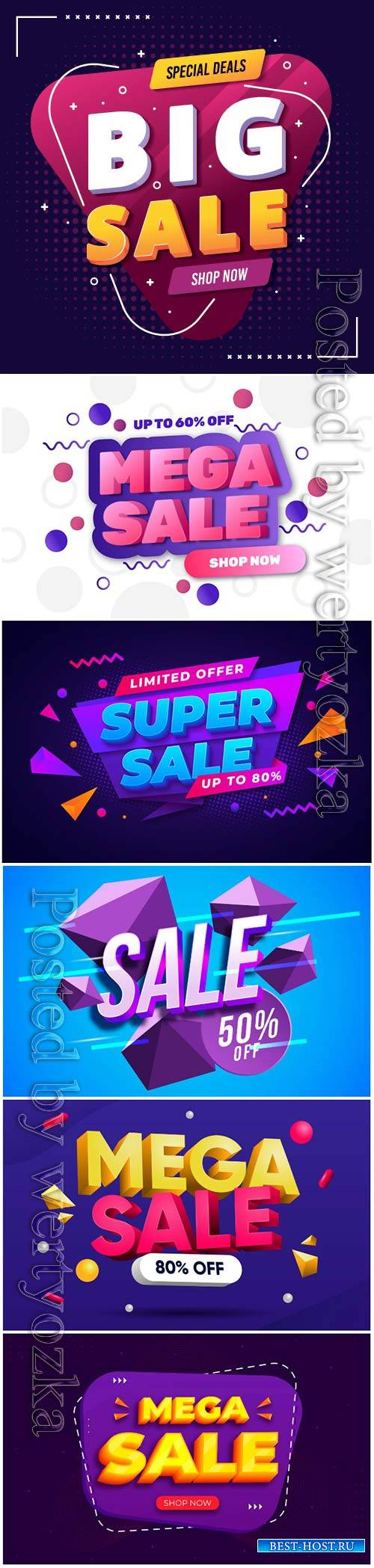 Colorful 3d sales vector background # 3