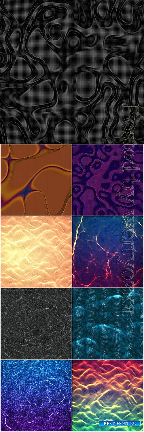 Chaotic abstract wave mesh vector background