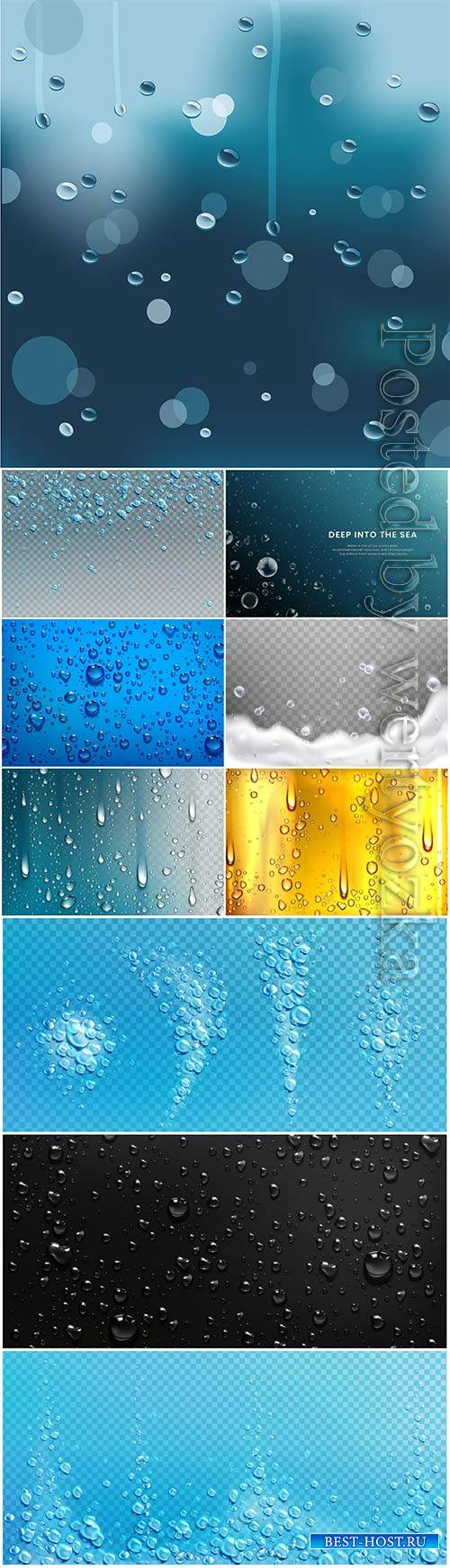 Water droplets vector background