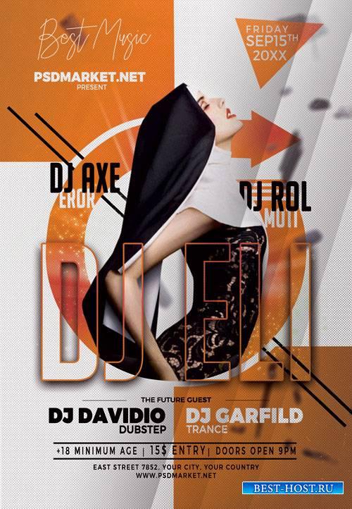 Dj night party - Premium flyer psd template