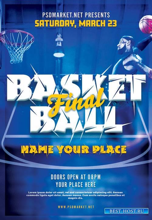 Basketball final - Premium flyer psd template