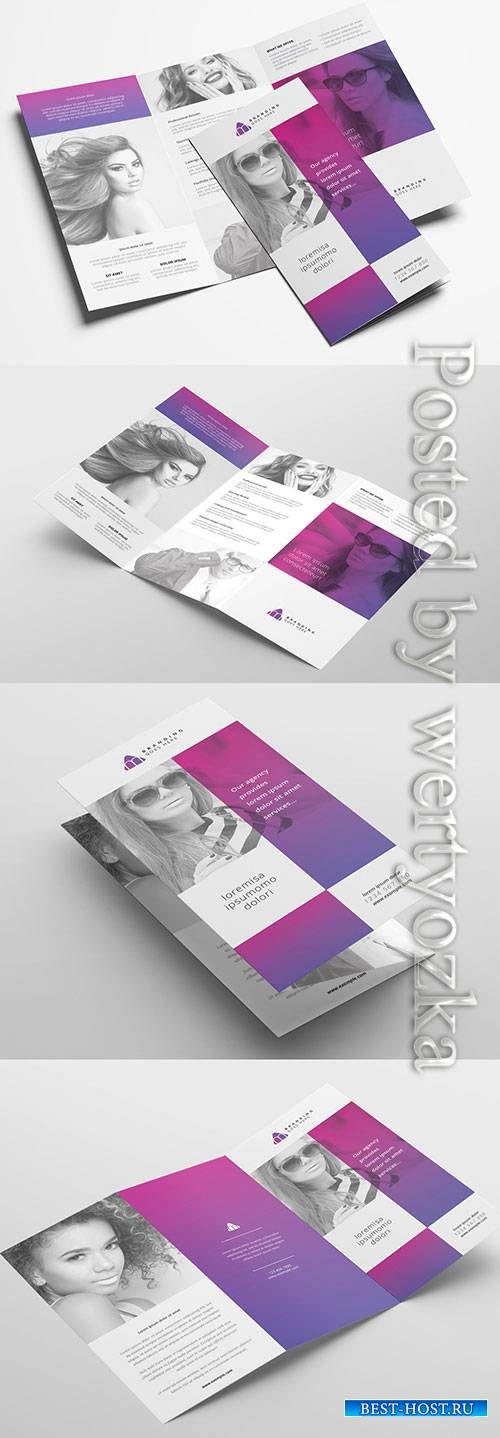 Trifold Brochure Layout with Modern Style