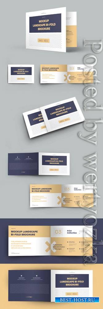 6 Mockup Set Landscape Bi-Fold Brochures 323040727