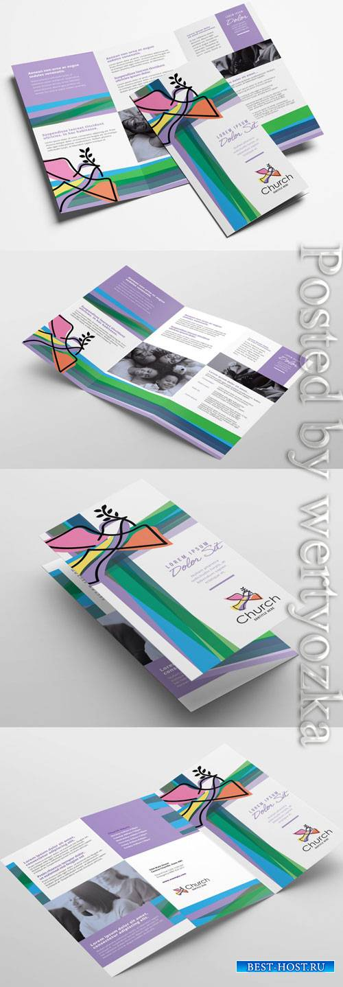 Modern Church Trifold Brochure Layout