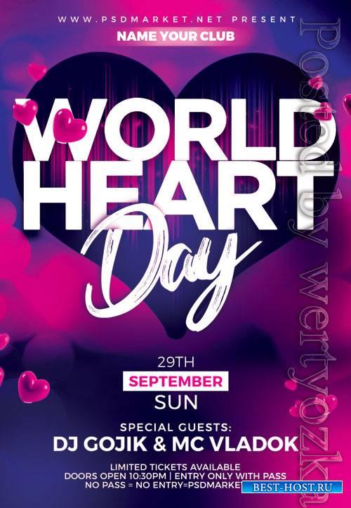 World heart day - Premium flyer psd template