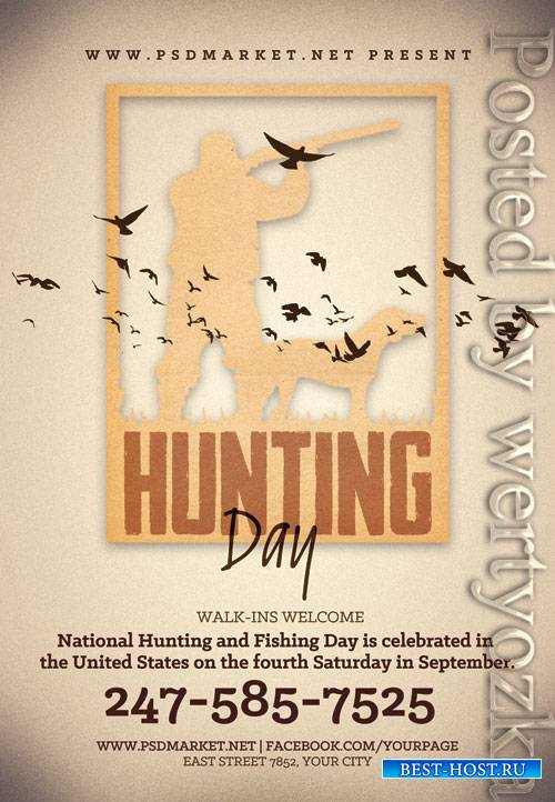 National hunting day - Premium flyer psd template