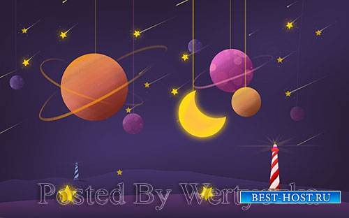 3D models template hand painted space planet moon stars dream