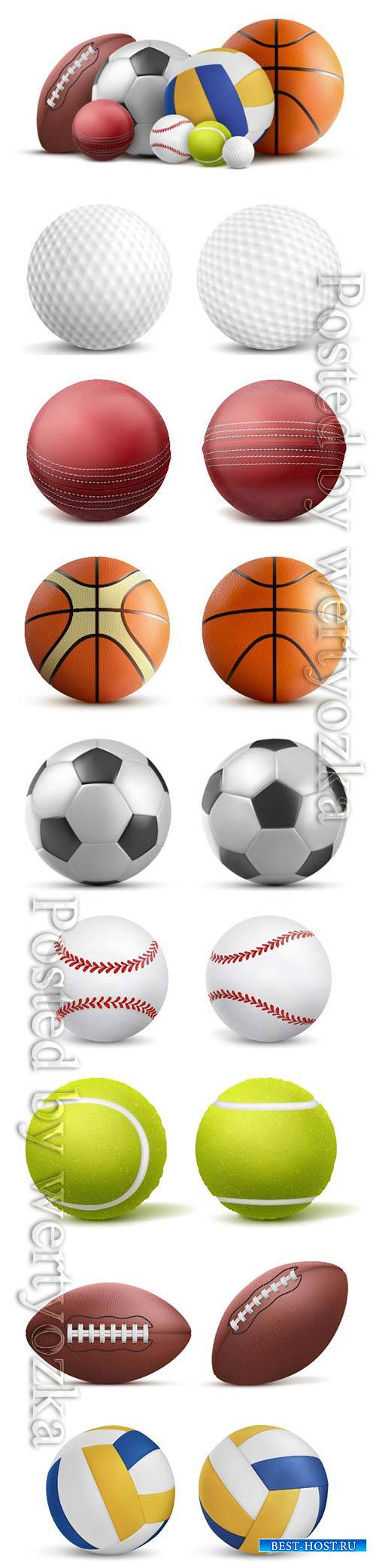 Sports balls, soccer, volleyball, baseball, tennis, golf, rugby vector temp ...