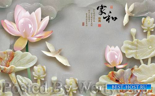 3D psd models embossed lotus home and rich tv background