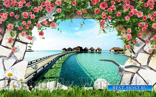3D psd models beach scenery landscape wall outside the wall