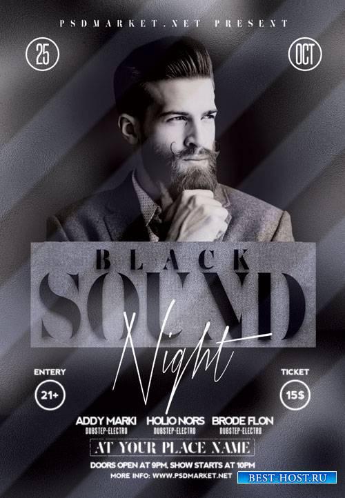 Black sound - Premium flyer psd template