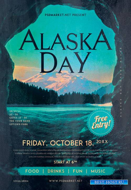 Alaska day - Premium flyer psd template