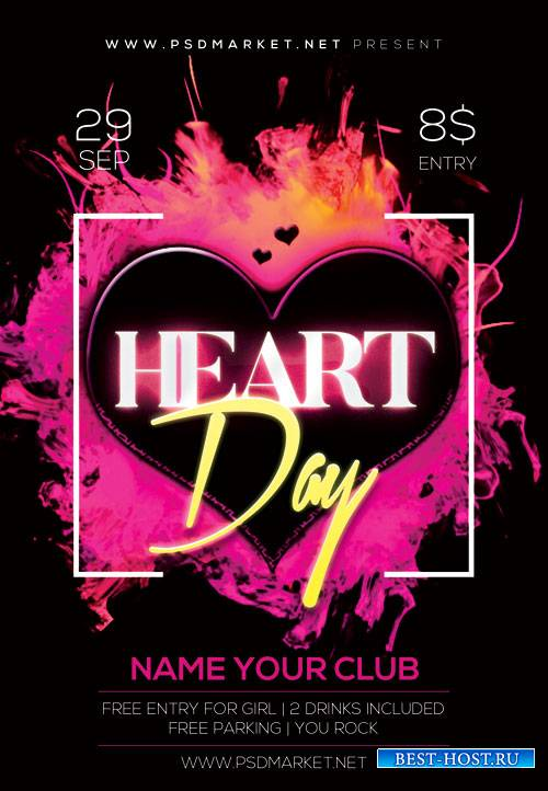 Heart day - Premium flyer psd template