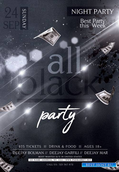 All club black party - Premium flyer psd template