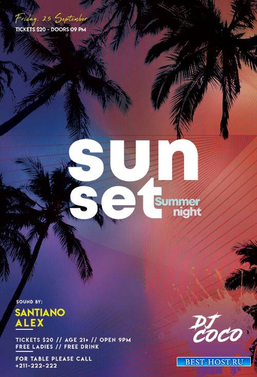 Sunset Summer Night - Premium flyer psd template