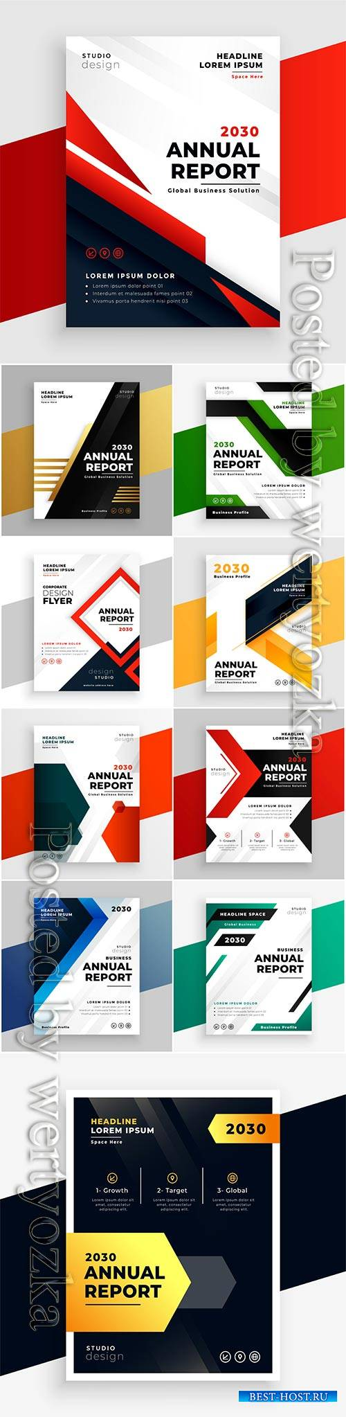 Business brochures in modern style, vector illustration