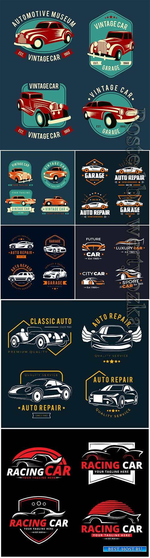 Flat design car logo vector collection