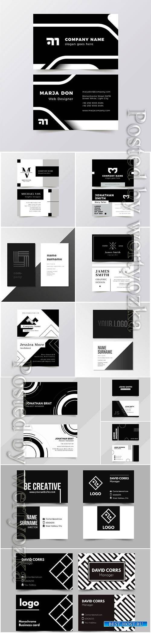 Business cards in black white style, vector templates