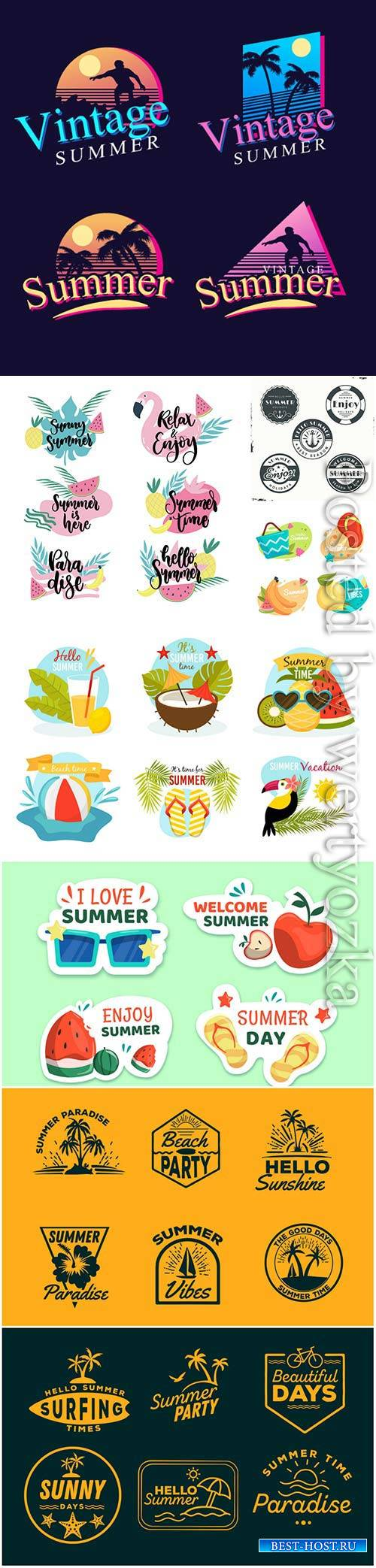 Summer labels vector collection # 13