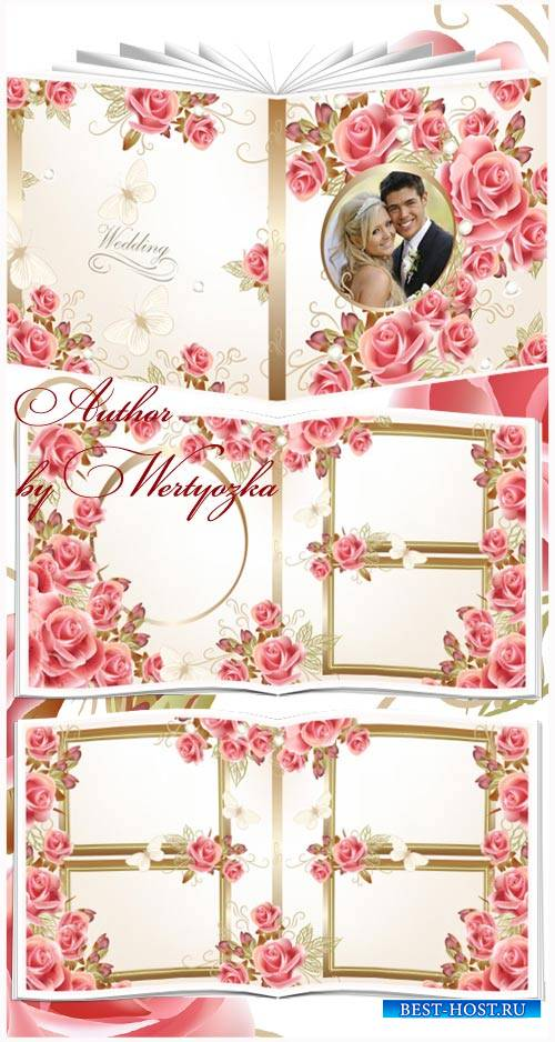 Beautiful wedding photo album with roses design