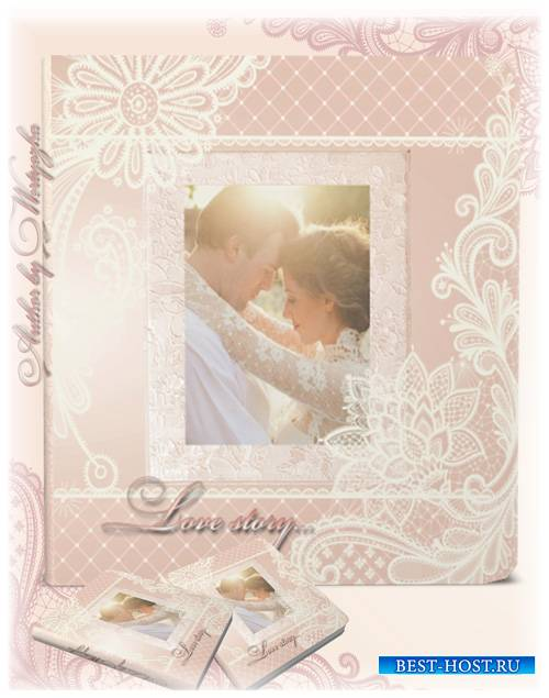 Beautiful wedding photo album with delicate patterns design